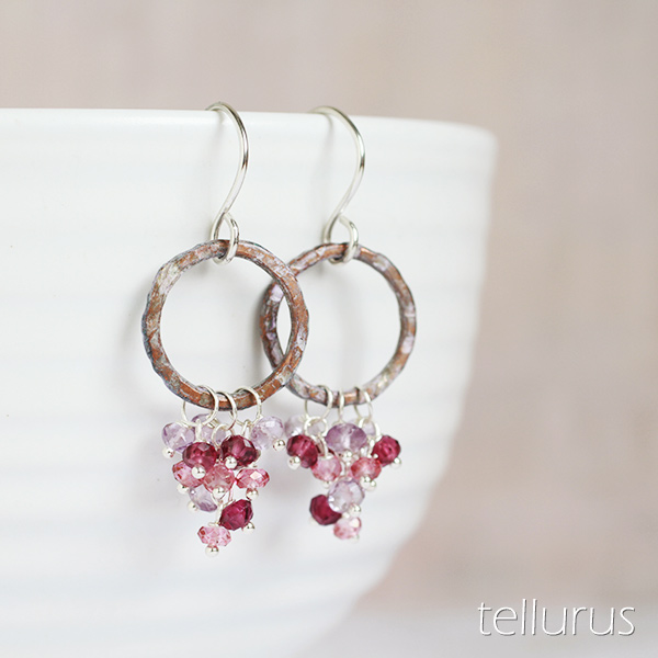 Lilac patina hoop earrings with pink gem cascades
