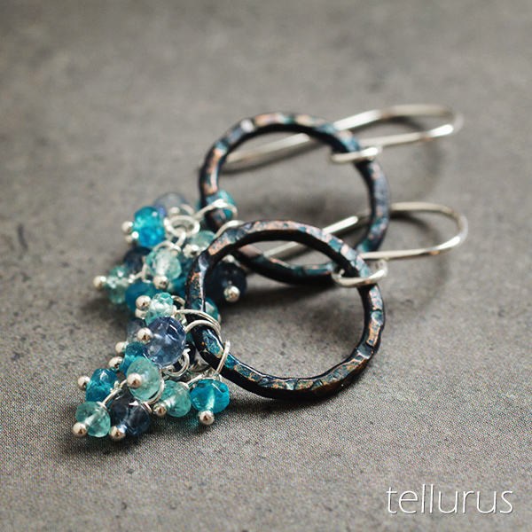Peacock patina hoop earrings with blue gem cascades
