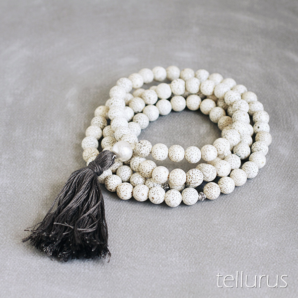 White lotus seed mala necklace